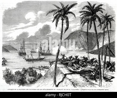 An attack on the battery of coconut trees by the Diamond and Galatea detachments. Soldiers overrun a hill surrounded by coconut trees, where the 'coconut tree' battery had dug in cannons to defend the shore. French ships lay at a distance, and long boats line the shoreline. - Stock Image