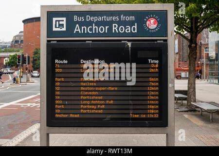 Bus Arrivals and Departures Information Board, Anchor Road, Bristol, UK - Stock Image
