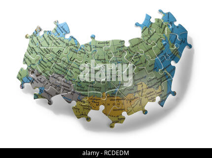 A section of jigsaw puzzle of Russia - Stock Image