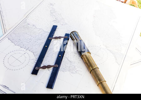 War Games, Map, telescope, Parallel Ruler, map reading, Plot direction, navigate, plan route, map, read map, Chart, course, route, plan, measure, - Stock Image