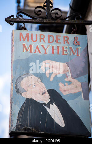 Sign outside the Murder and Mayhem bookshop in Hay-on-Wye, Powys,  Wales - Stock Image