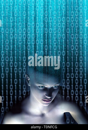 female humanoid and binary digits as concept for Artificial Intelligence, future generations of humans and digitally created personas - Stock Image