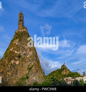 The Chapel of St Michel-dAiguilhe in the city of Le Puy-en-Velay in the Auvergne-Rhone-Alpes region of south-central France. Built in 969 on a volcani - Stock Image