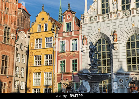 Neptune Fountain and Artus Court Dlugi Targ Long Market street Gdańsk Poland - Stock Image