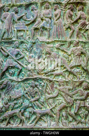 Details of carved door of Saint Nicholas of Myra Cathedral in Noto city, Sicily in Italy - Stock Image