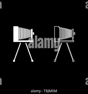 Retro camera on tripod Vintage analog film camera Old photo camera icon outline set white color vector illustration flat style simple image - Stock Image