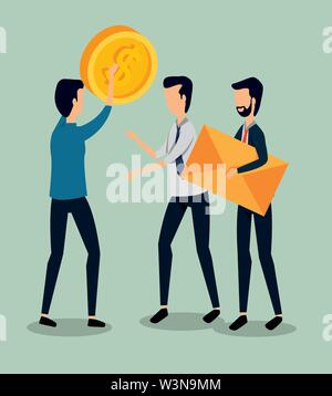 professional businessmen teamwork with coin and letter - Stock Image