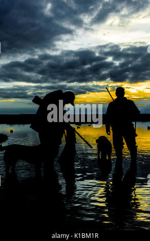 Silhouette of UK wildfowlers or duck shooters and dogs after a days shooting on the marshes in Lincolnshire - Stock Image