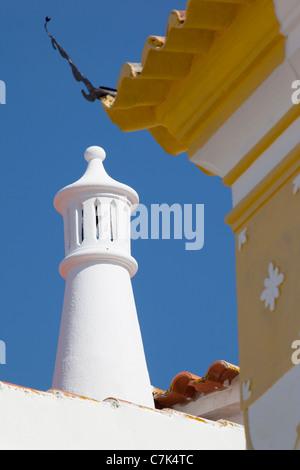 Portugal, Algarve, Alte, Chimney & Colourful Architecture - Stock Image