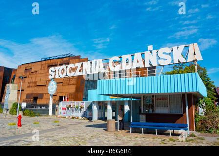 Stocznia Gdanska, gate to the former Shipyard, Plac Solidarnosci, Gdansk, Poland - Stock Image
