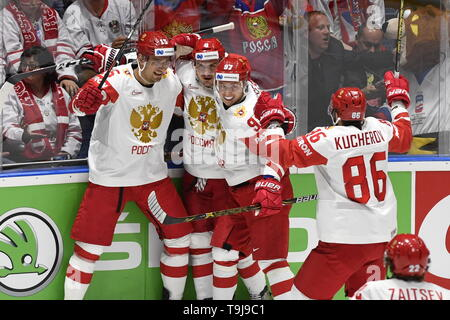 Bratislava, Slovakia. 19th May, 2019. Russian players celebrate goal in the match between Austria and Czech Republic within the 2019 IIHF World Championship in Bratislava, Slovakia, on May 19, 2019. Credit: Vit Simanek/CTK Photo/Alamy Live News - Stock Image