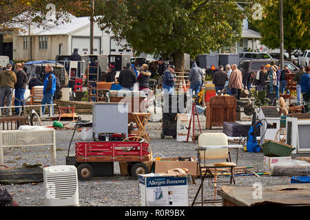 The scene at the Farmersville Auction. Amish Country, Farmersville, Lancaster County, Pennsylvania, USA - Stock Image