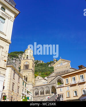 The Amalfi Cathedral dedicated to the Apostle Saint Andrew in the Piazza del Duomo in Amalfi Italy off the coast of Salerno Gulf on the Tyrrhenian Sea - Stock Image