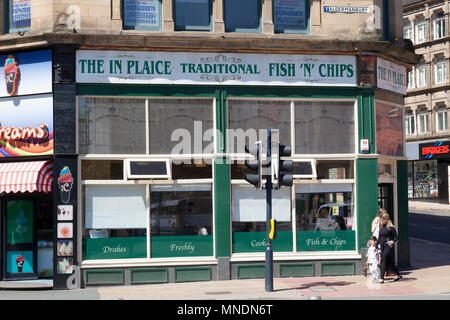 'The In Plaice' fish and chip shop, Bradford, West Yorkshire - Stock Image