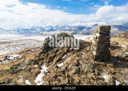 The summit cairn of High Seat in the Lake District in Cumbria - Stock Image