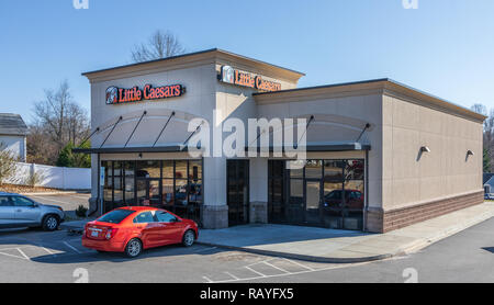 NEWTON, NC, USA-12/26/18: Little Caesar Enterprises, Inc. is the third largest pizza chain in the US, after Pizza Hut and Domino's Pizza. - Stock Image