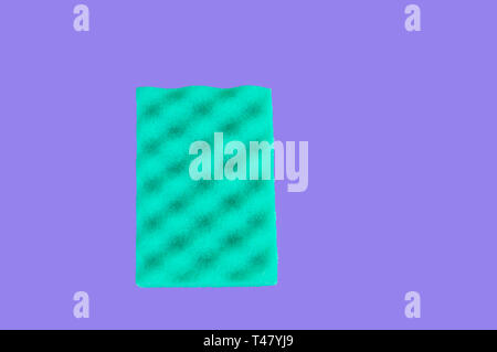 Green sponge for cleaning, isolated on purple background, clipping path included, top view, copy space, flat lay. - Stock Image