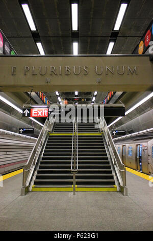 NEW YORK, NY - JULY 2: 96th station of 2nd Avenue subway line - New York City's newest addition to its underground public transport network, Manhattan - Stock Image