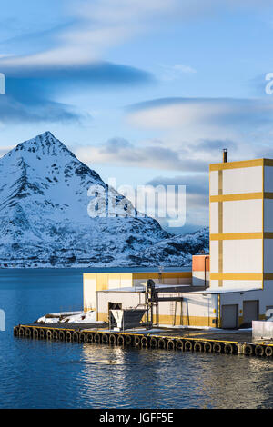 Dockside view at Øksfjord, Finnmark County, Norway. - Stock Image