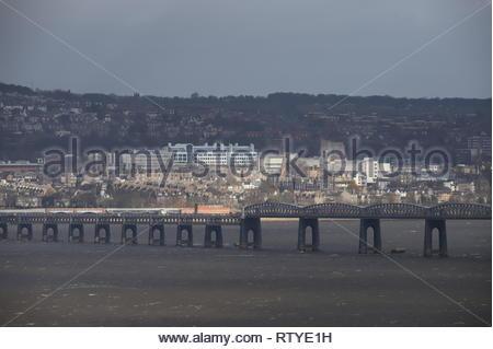 Tay Rail Bridge and University of Dundee Scotland  February 2019 - Stock Image
