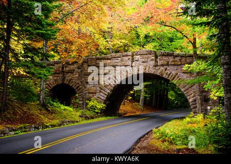 The Stanley Brook Bridge built in 1933 in Acadia National Park. - Stock Image