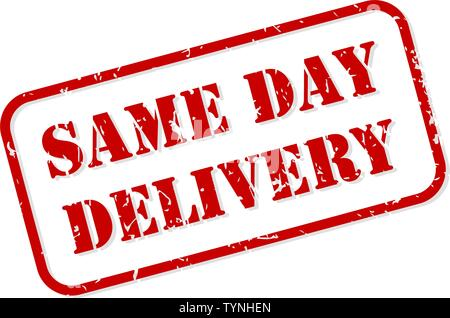 Same day delivery red rubber stamp vector isolated - Stock Image