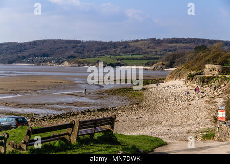 Beach between Silverdale and Far Arnside on Morecambe Bay, Lancashire, UK. - Stock Image