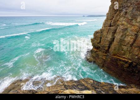 Rocky Cornish coastline at Perranporth,Cornwall,England,UK - Stock Image