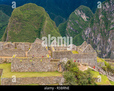 Typical constructions in the Machu Picchu citadel - Stock Image