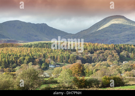 A View towards Dow Crag and Coniston Old Man - Stock Image