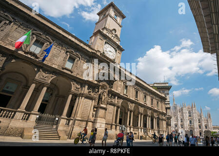 Horizontal streetview of the Chamber of Commerce in Milan, Italy. - Stock Image