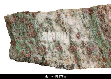 Eclogite (red garnet, green omphacite, white quartz) - Stock Image
