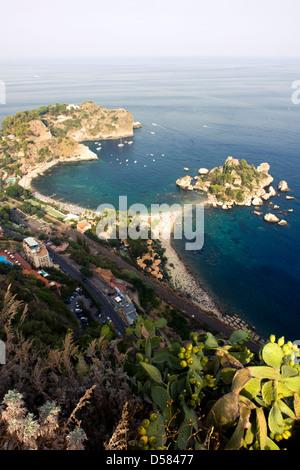 Isola Bella island near Taormina, Sicily, Italy - Stock Image