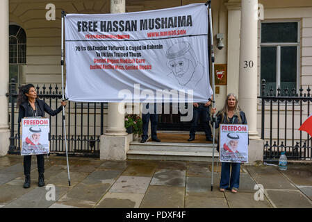 London, UK. 10th August 2018. A vigil by Inminds Islamic human rights organisation outside the Bahrain embassy calls for the immediate release of Hassan Mushaima and all the other 5000 Bahraini prisoners of conscience languishing in the Al-Khalifa regimes jails. Credit: Peter Marshall/Alamy Live News - Stock Image