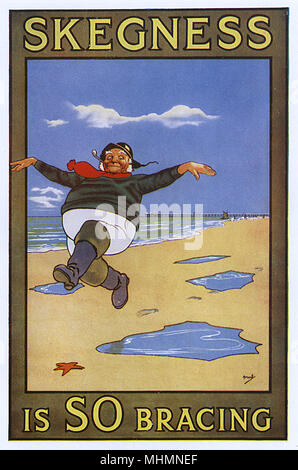 Skegness is SO Bracing - the famous poster featuring the jolly fisherman designed for the East Coast seaside town by artist John Hassall.     Date: 1908 - Stock Image