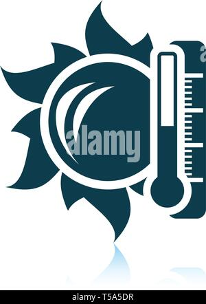Sun and thermometer with high temperature icon. Shadow reflection design. Vector illustration. - Stock Image