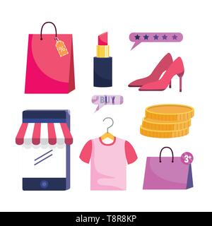 set of digital ecommerce technology to online shopping vector illustration - Stock Image