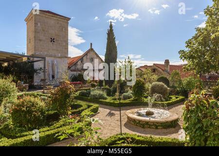Medieval Monastery Mediterranean Garden of St Lawrence, Sibenik, Croatia - Stock Image