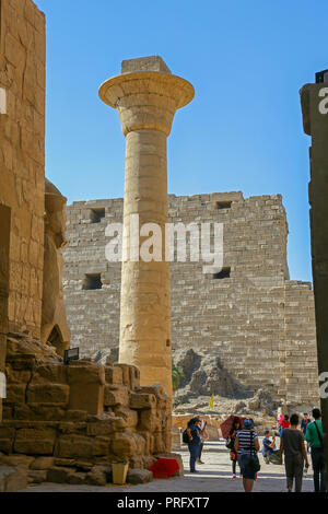 The remaining column of the Kiosk of Taharqa at the Karnak Temple Complex, also known as The Temple of Karnak, in Thebes, Luxor, Egypt - Stock Image