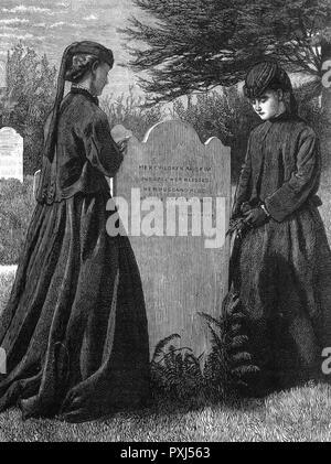 Two daughters at their mother's grave       Date: circa 1870 - Stock Image