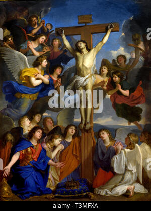 The Crucifix with Angels,1660, Charles LE BRUN  1619 – 1690, France, French, - Stock Image