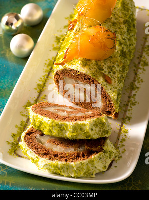 Pears and Pistachio Yule Log - Stock Image