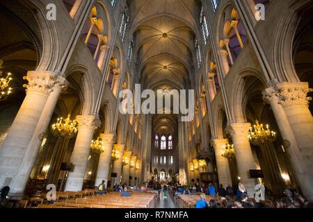 PARIS, FRANCE, SEPTEMBER 6, 2018 -  Notre Dame de Paris cathedral interior, Paris, France - Stock Image