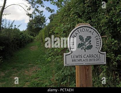 Path to Lewis Carroll Birthplace, Morphany Lane, Daresbury, South Warrington, Cheshire, North West England, UK - Stock Image
