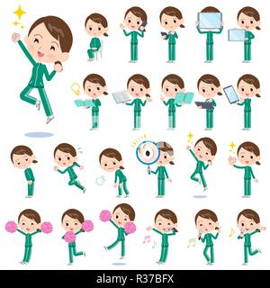 A set of women in sportswear with digital equipment such as smartphones.There are actions that express emotions.It's vector art so it's easy to edit. - Stock Image