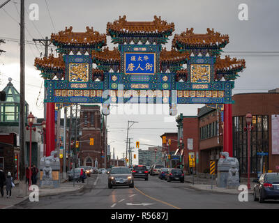 OTTAWA, CANADA - NOVEMBER 10, 2018: Paifang Monumental gate materializing the entrance to Ottawa Chinatown. it is the Chinese ethnic district of the c - Stock Image