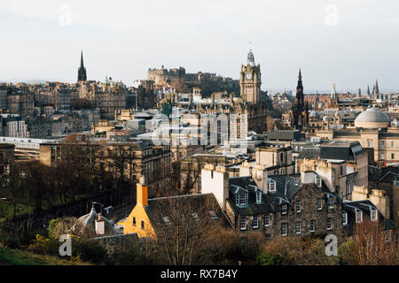 EDINBURGH, SCOTLAND - FEBRUARY 9, 2019 - The view of Old Town and the Castle from Calton Hill - Stock Image