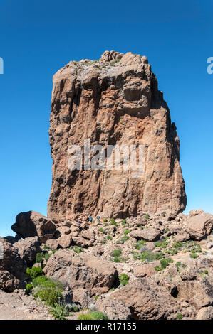 Views of Roque Nublo peak (Clouded rock, Rock in the clouds), in Nublo Rural Park, in the interior of the Gran Canaria - Stock Image
