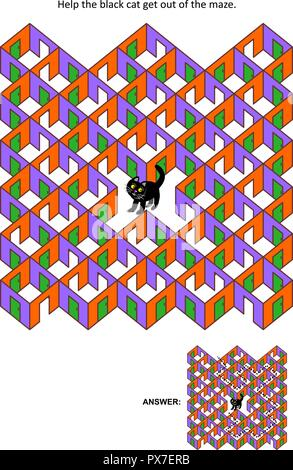 Halloween festival themed rooms and doors maze game or activity page: Help the black cat get out of the maze. Answer included. - Stock Image