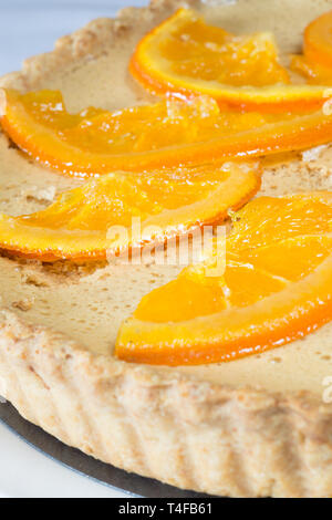 Classic Kentish regional dessert of Gypsy tart decorated with candied Orange slices - Stock Image